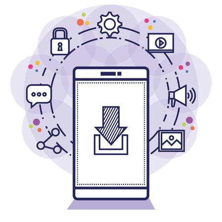 social media technology digital smartphone vector illustration Illustration