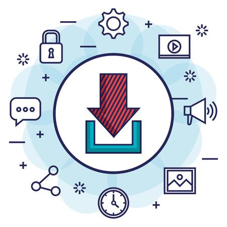 wireless communication: Download social media communication information icons vector illustration