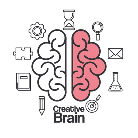 Creative brain idea with different icons. Vector illustration