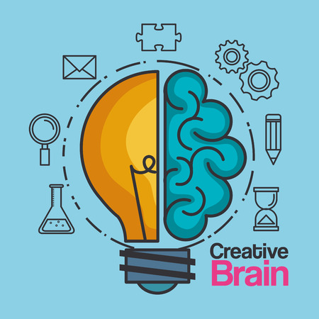 Creative brain idea light bulb. Vector illustration Illustration