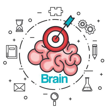脳の戦略的な考え。ベクトル図