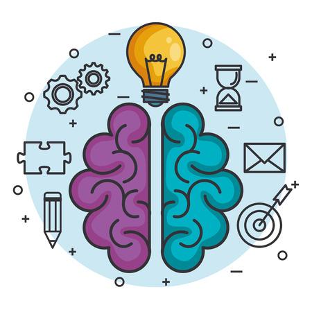 brain lightbulb think idea intelligence concept vector illustration Illustration