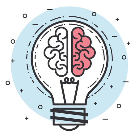 brain bulblight idea solution intelligence vector illustration