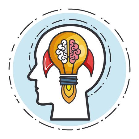 head human rocket brain bulb idea power vector illustration