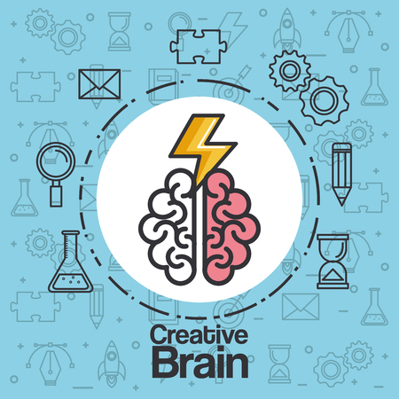 brainstorming creative idea knowledge abstract icon vector illustration