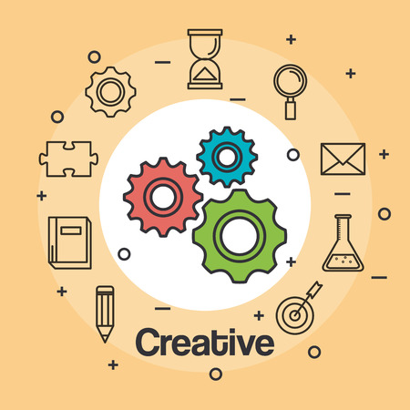 creative inspiring intelligence and motivation vector illustration Ilustracja