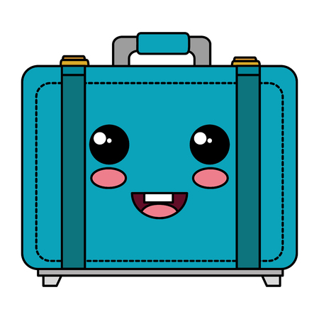 suitcase travel kawaii character vector illustration design