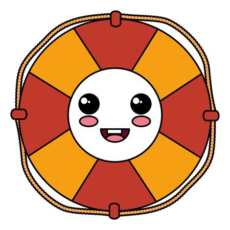 Float lifeguard kawaii character vector illustration design