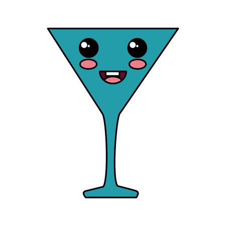 cocktailkop kawaii karakter vector illustratie ontwerp