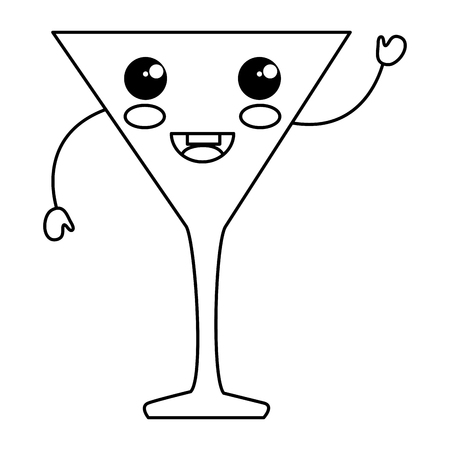cocktail cup kawaii character vector illustration design Illustration