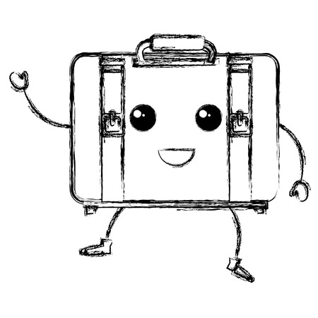 suitcase travel kawaii character vector illustration design Banco de Imagens - 84066144