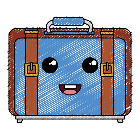 A suitcase travel kawaii character vector illustration design.