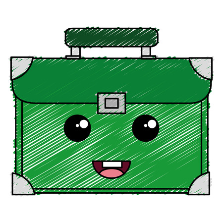case: A suitcase travel kawaii character vector illustration design.