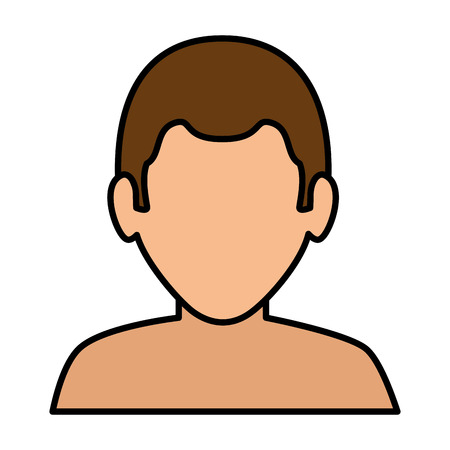 A young man shirtless avatar character vector illustration design.