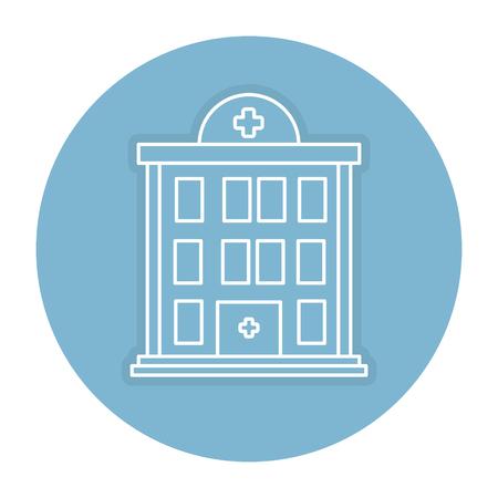 Krankenhausgebäude lokalisiertes Ikonenvektor-Illustrationsdesign Standard-Bild - 84067147