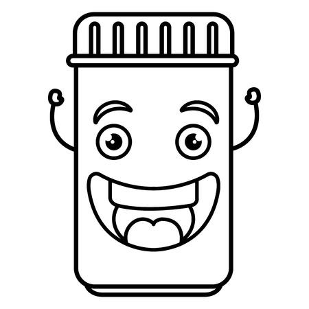 Bottled drugs cartoon character vector illustration design Ilustração