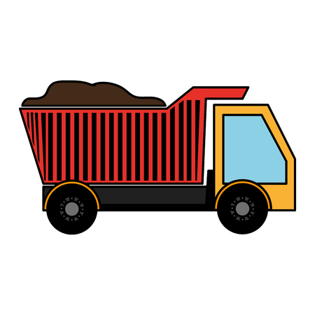 excavation: dump truck isolated icon vector illustration design