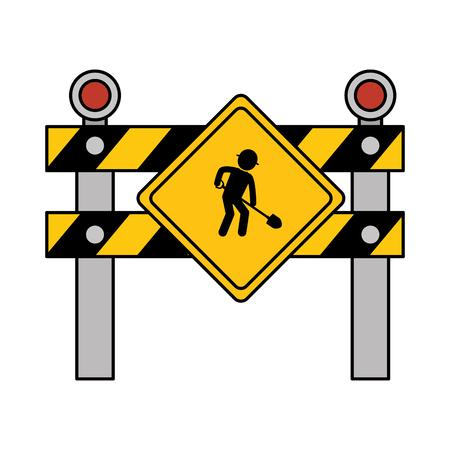 construcción valla señal icono ilustración vectorial diseño