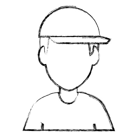 Worker with helmet. Avatar vector illustration design Illusztráció