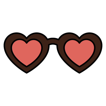 shaped: Female glasses with shaped heart vector illustration design