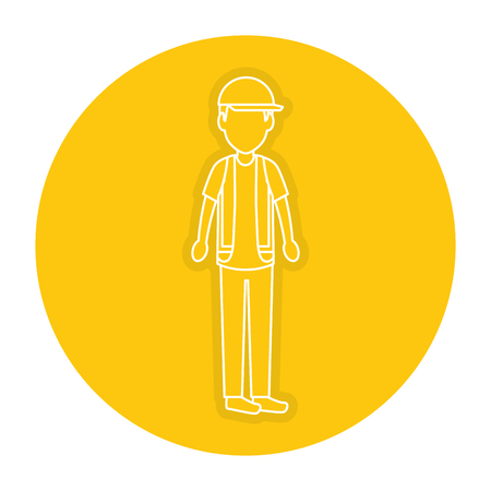 Worker with helmet avatar vector illustration design