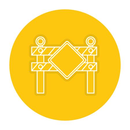 Construction fence signage icon. Illustration