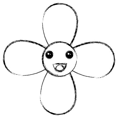 cute flower character vector illustration design
