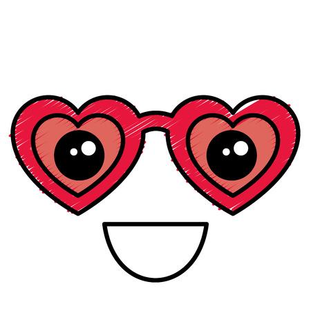 심장 모양 그림 여성 안경입니다.