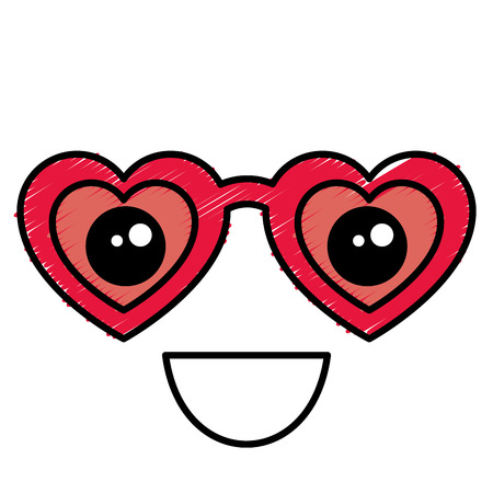 Female glasses with  heart shape illustration.