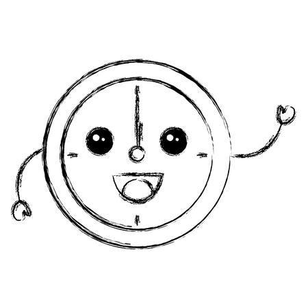 numeric: time clock kawaii character vector illustration design