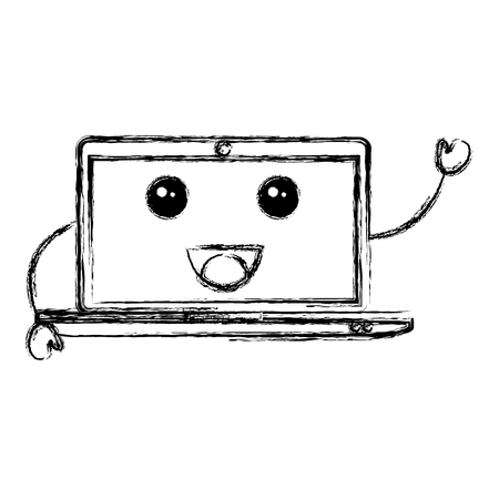 lcd display: computer laptop character vector illustration design