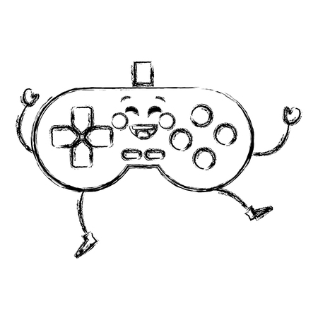 video game control kawaii character vector illustration design