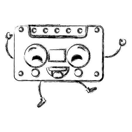 oude cassette kawaii karakter vector illustratie ontwerp Stock Illustratie