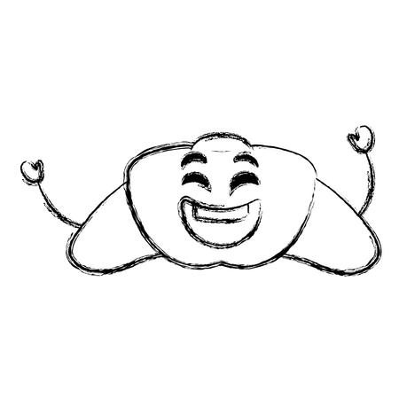 delicious croissant bread kawaii character vector illustration design