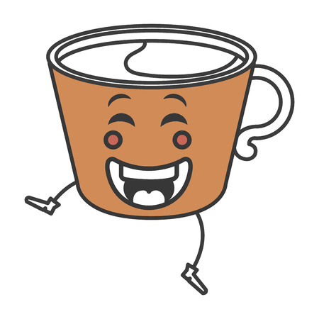 coffee cup kawaii character vector illustration design