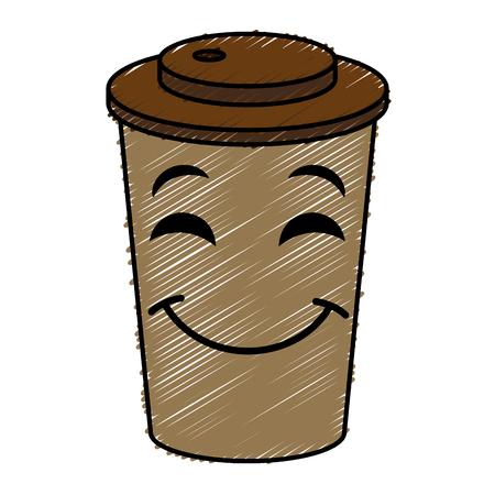 koffie in plastic ontwerp van de het karakter vectorillustratie van kopkawaii Stock Illustratie
