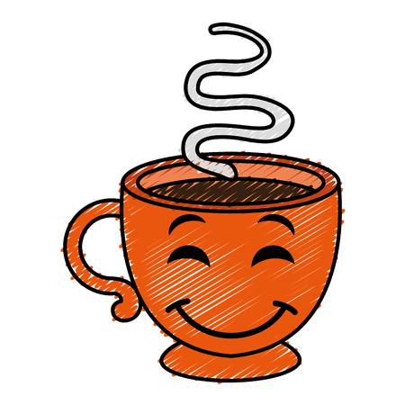 coffee cup hot kawaii character vector illustration design Illustration