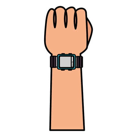 hand with wristle watch isolated icon vector illustration design