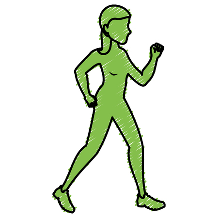 sport woman walking silhouette vector illustration design