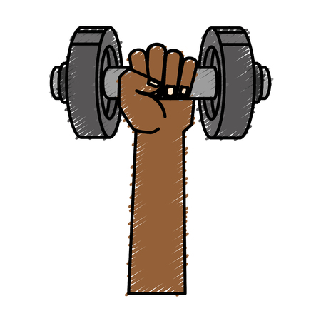 hand with weight lifting device gym vector illustration design
