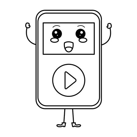 음악 플레이어 mp3 카와이 문자 벡터 일러스트 레이션 디자인