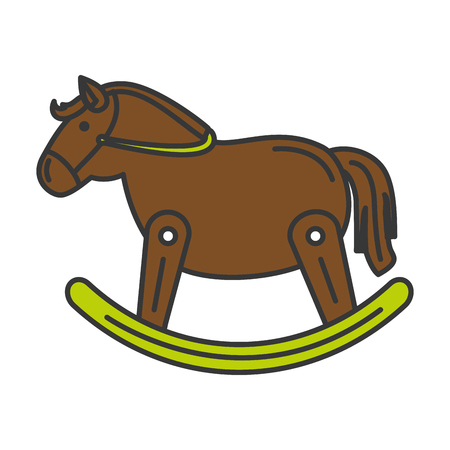 horse wooden isolated icon vector illustration design Illustration