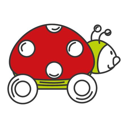 ladybug with wheels icon vector illustration design