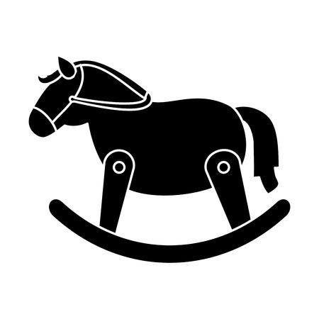 Paard houten geïsoleerd pictogram vector illustratie ontwerp