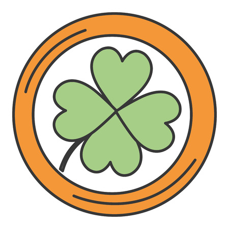coins with clovers icon vector illustration design