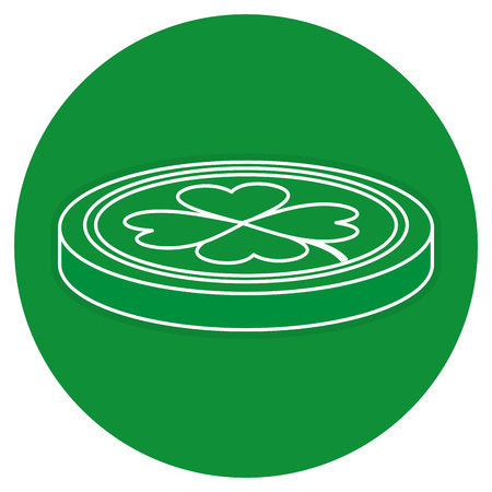 clovers: coins with clovers icon vector illustration design
