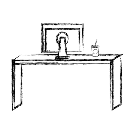Bureau avec retour de moniteur illustration vectorielle conception Banque d'images - 84227649