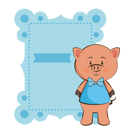 Baby shower card with pig icon over white illustration