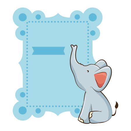 baby shower card with cute elephant icon over white background vector illustration Vettoriali