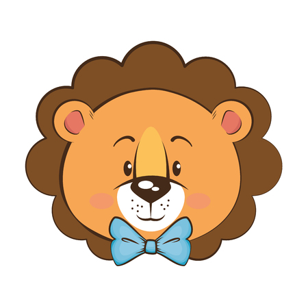 Cartoon lion icon over white background vector illustration 向量圖像